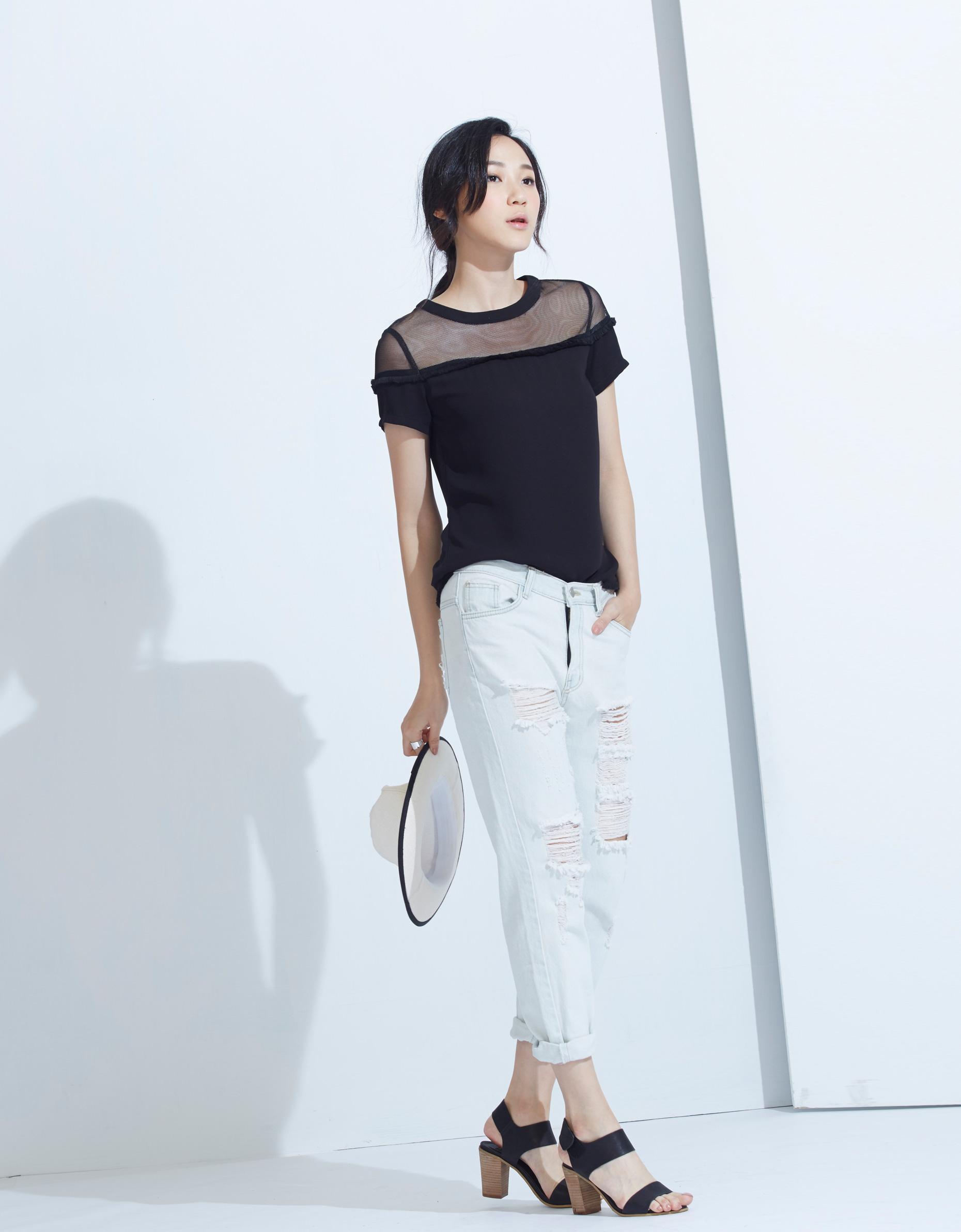 KODZ Womens Top with Sheer Yoke Japanese/Korean Fashion   eBay
