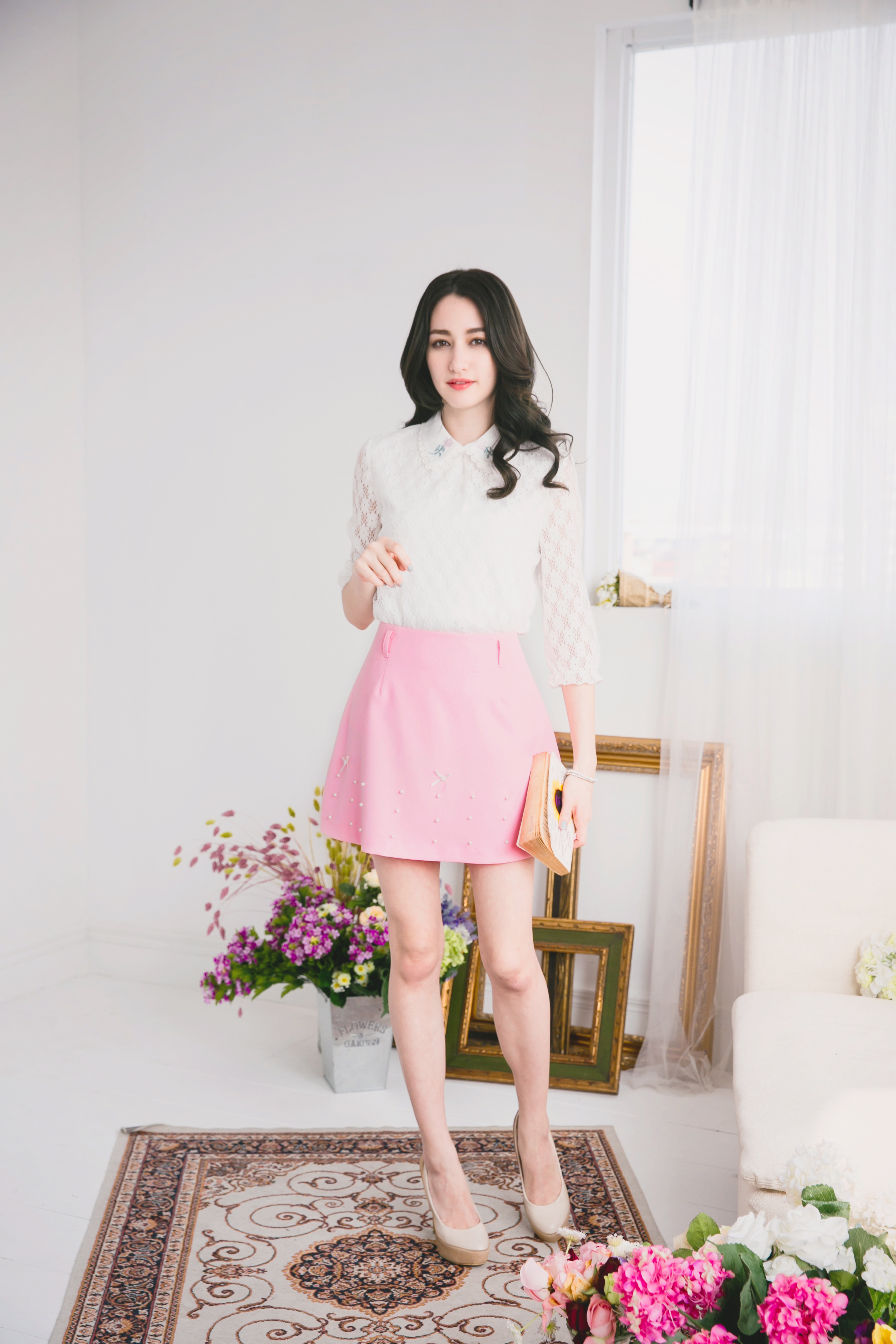 YOCO Womens Mini Skirt with Pearls Japanese/Korean Fashion ...
