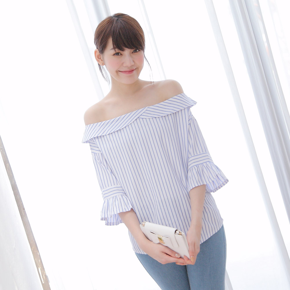 TOKYO FASHION Womens Stripes Off-Shoulder Top Japanese/Korean Fashion