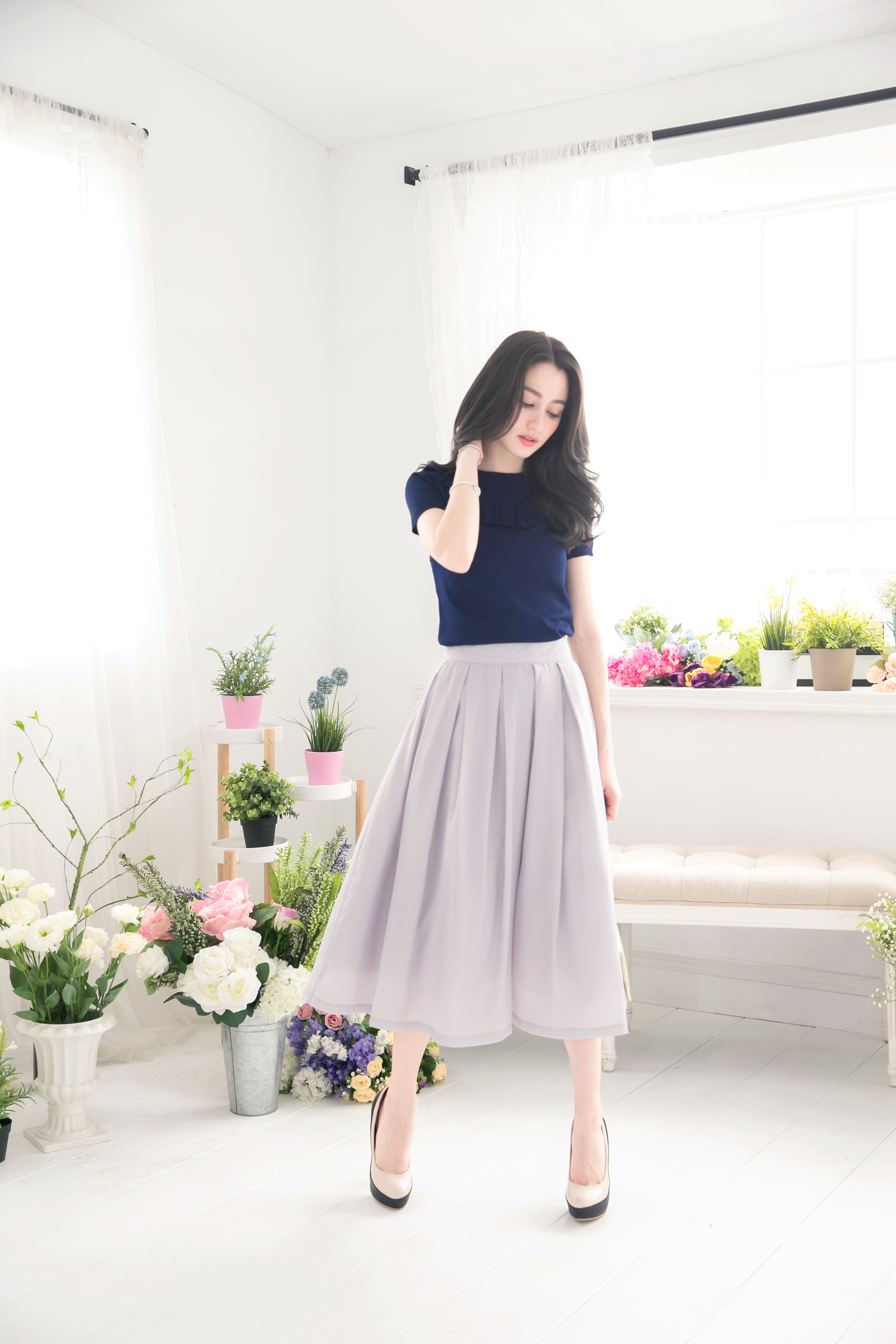 YOCO Womens Classic Pleated Midi Skirt Japanese/Korean Fashion