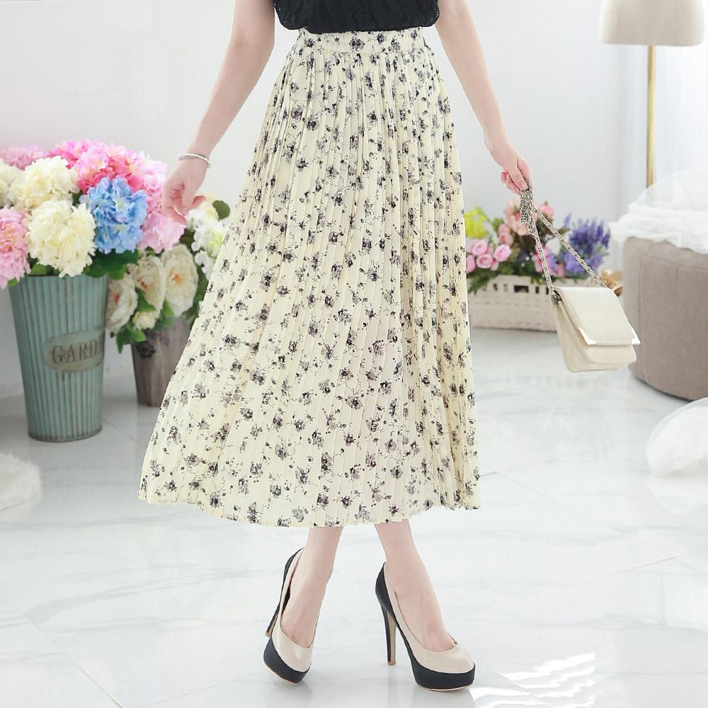 yoco womens floral print maxi skirt japanesekorean fashion