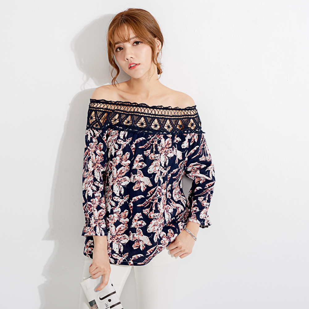 Mayuki Womens Floral Graphic Off Shoulder Top Japanese