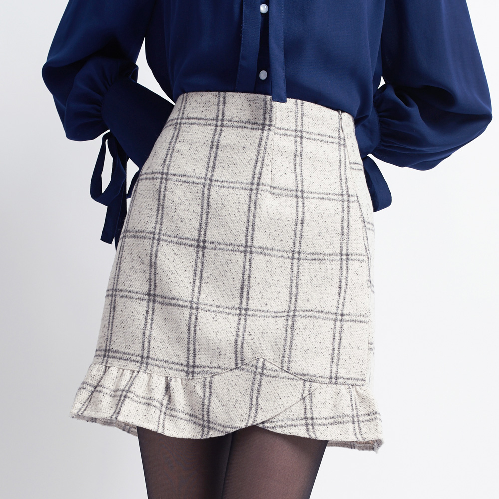 YOCO Womens Checkered A-Line Skirt with Ruffle Hem Japanese/Korean ...