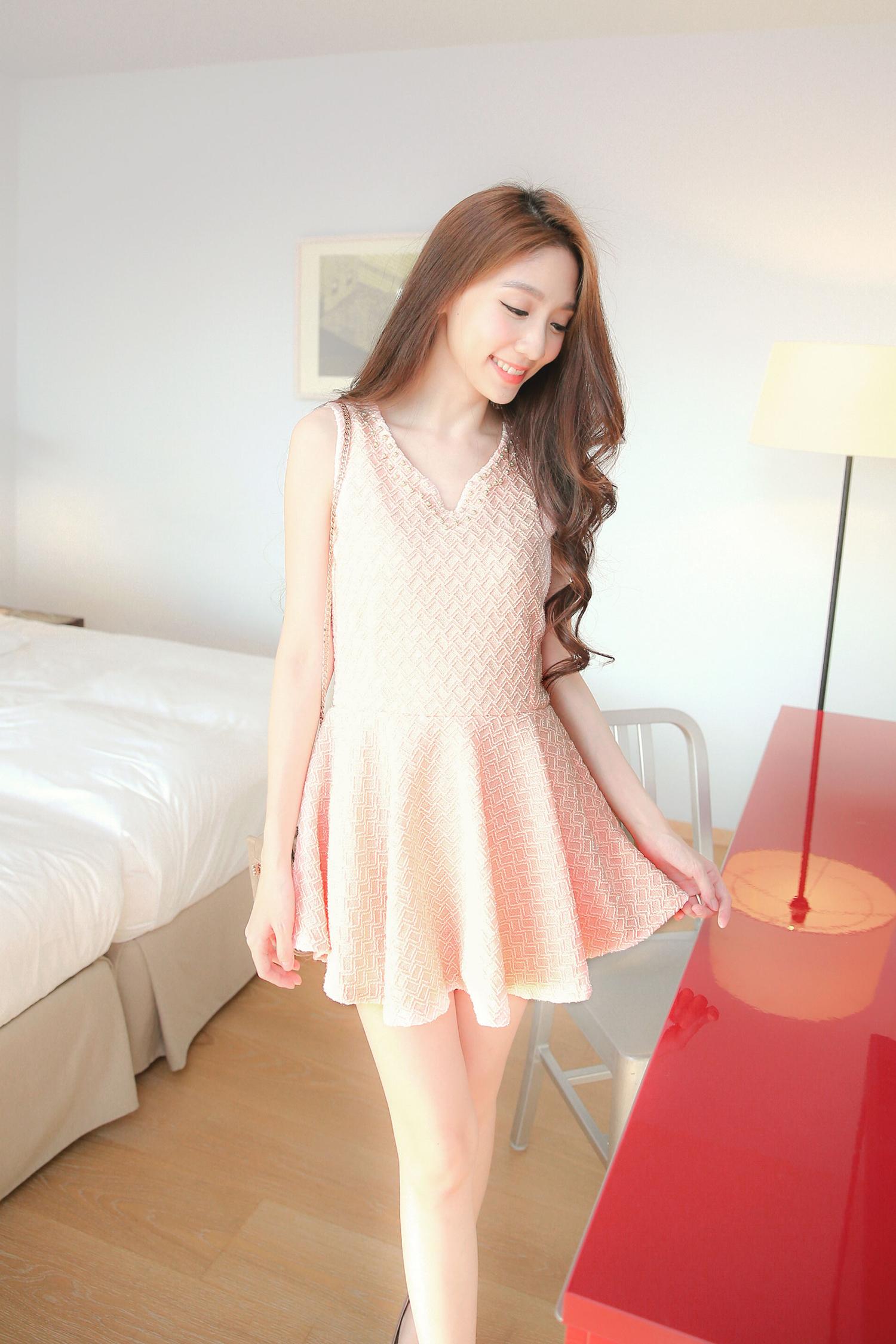 Mayuki Womens Beaded V-Neck Sleeveless Dress Japanese/Korean Fashion
