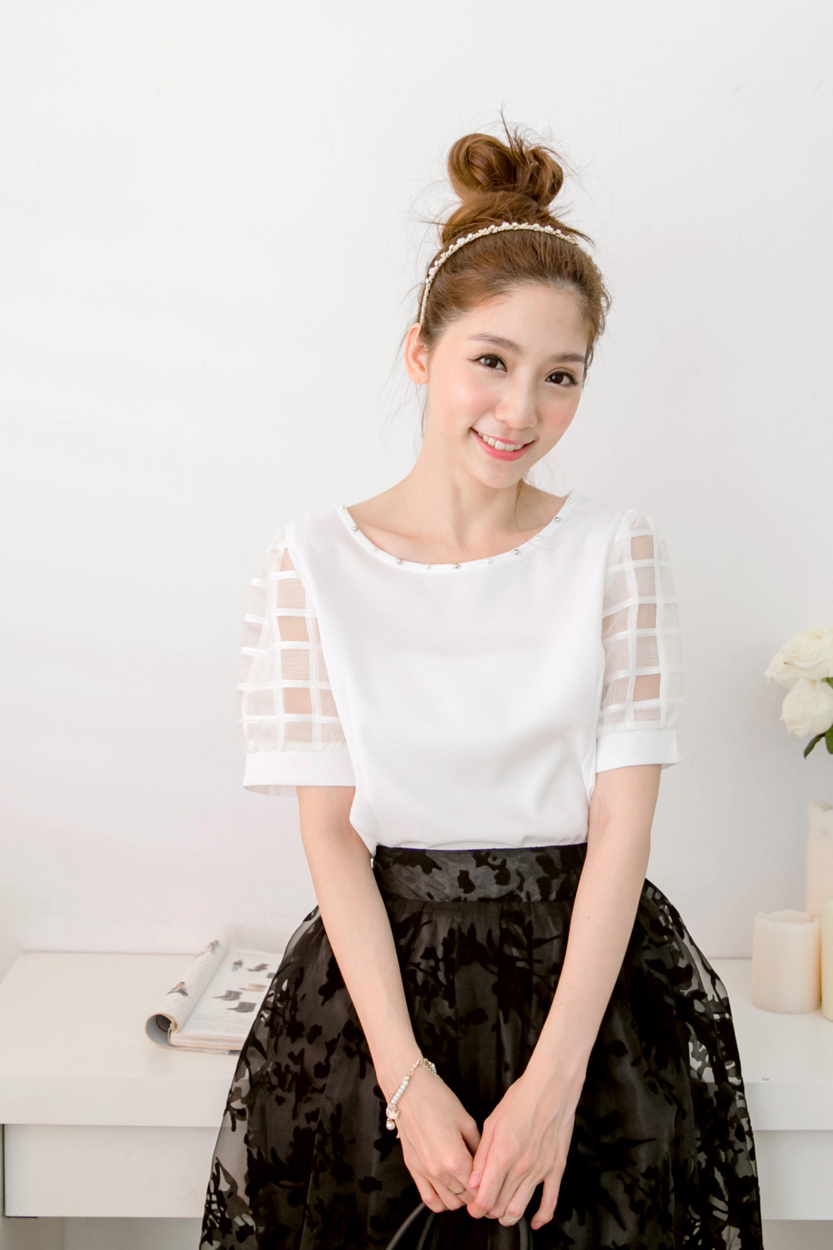 Mayuki Womens Plaid Sheer Chiffon Sleeve Top With Studs Japanese/Korean Fashion