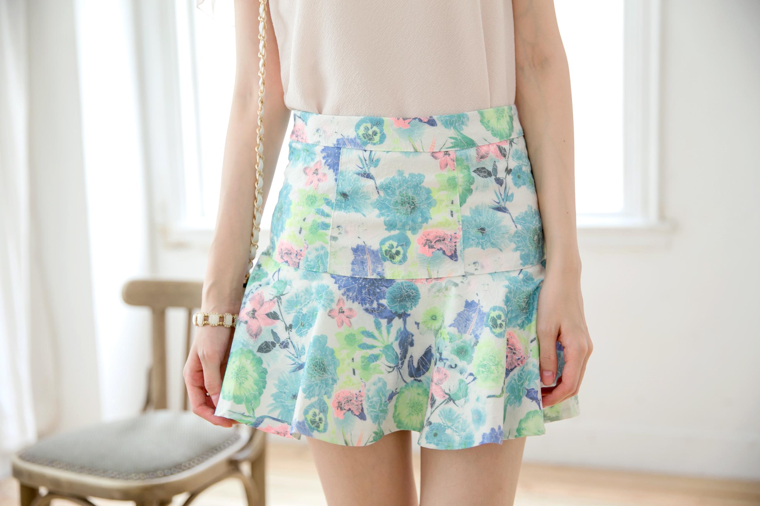 Mayuki Womens Floral Ruffled Mini Skirt Japanese/Korean ...
