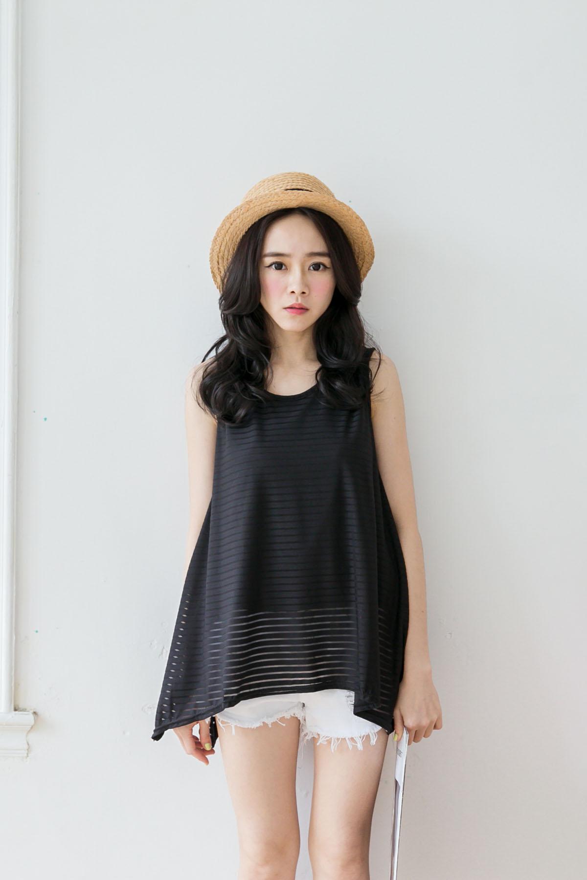 TOKYO FASHION Womens Striped Sheer Sleeveless Long Top Japanese/Korean Fashion