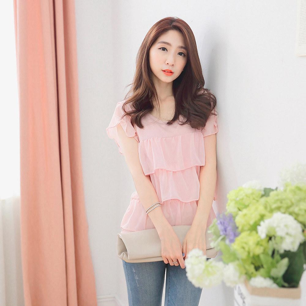 Mayuki Womens Cotton Top With Chiffon Layered Japanese/Korean Fashion
